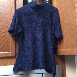 Sparkling blue turtleneck shortsleeved sweater